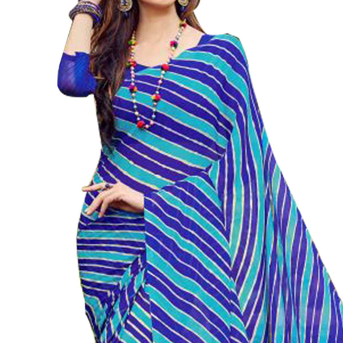 Beautiful Blue Colored Casual Printed Chiffon Saree
