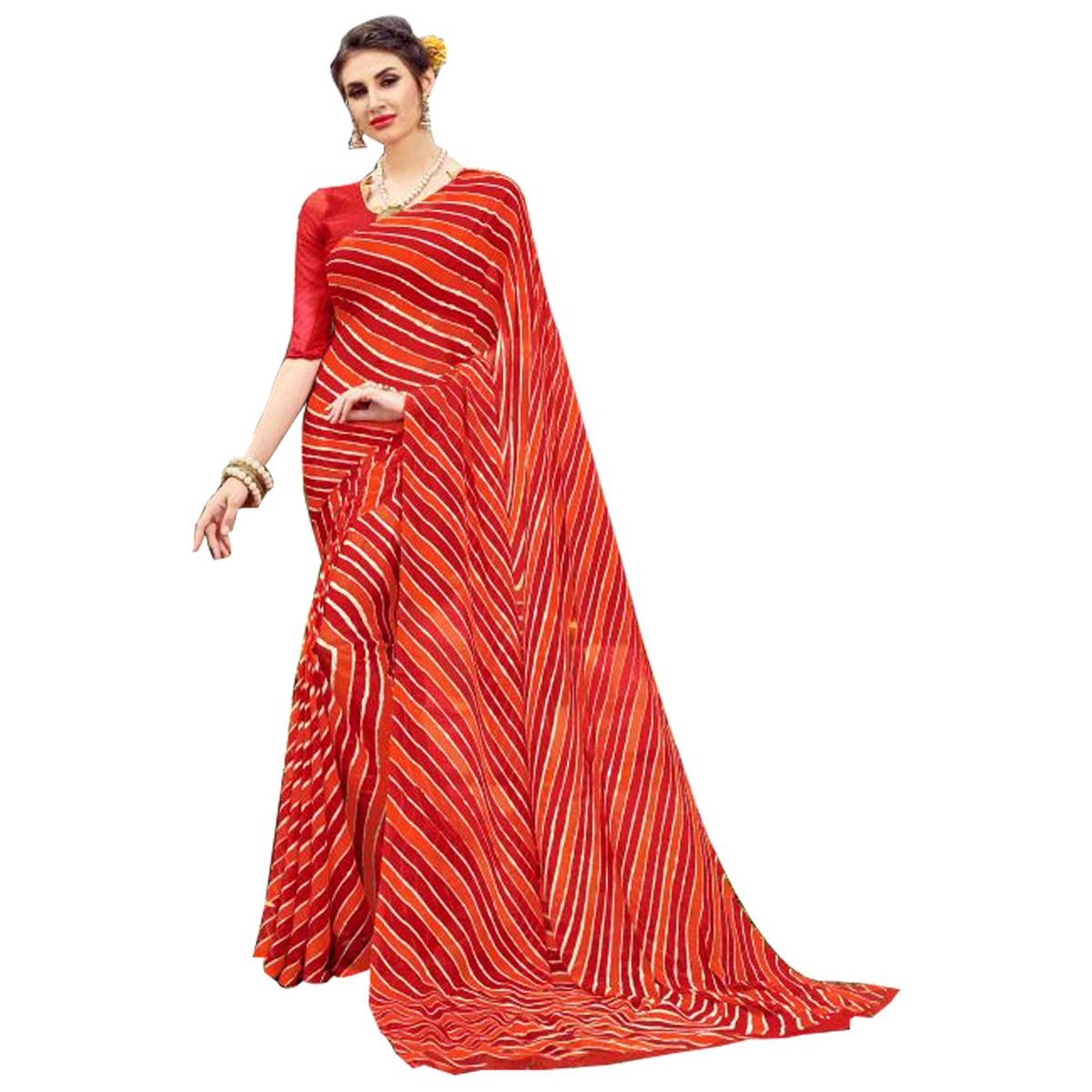 Gorgeous Red Colored Casual Printed Chiffon Saree