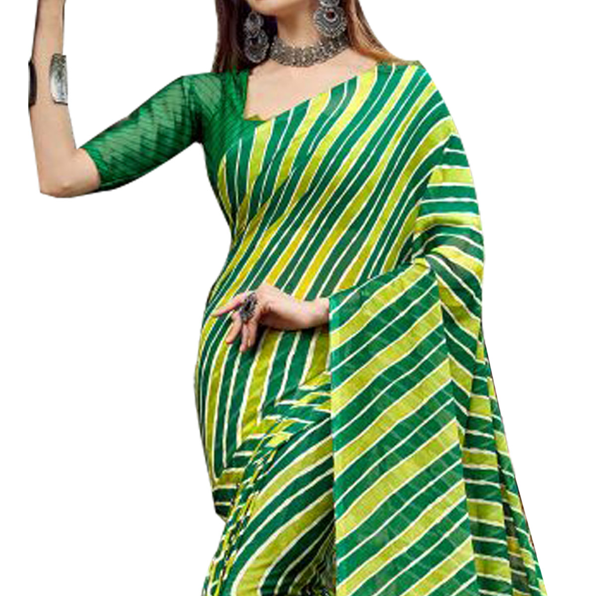 Refreshing Green Colored Casual Printed Chiffon Saree
