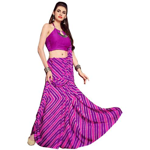 Mesmeric Purple Colored Casual Printed Chiffon Saree