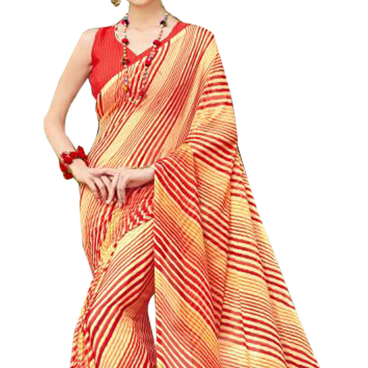 Lovely Red-Yellow Colored Casual Printed Chiffon Saree