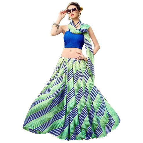 Stylish Green-Blue Colored Casual Printed Chiffon Saree