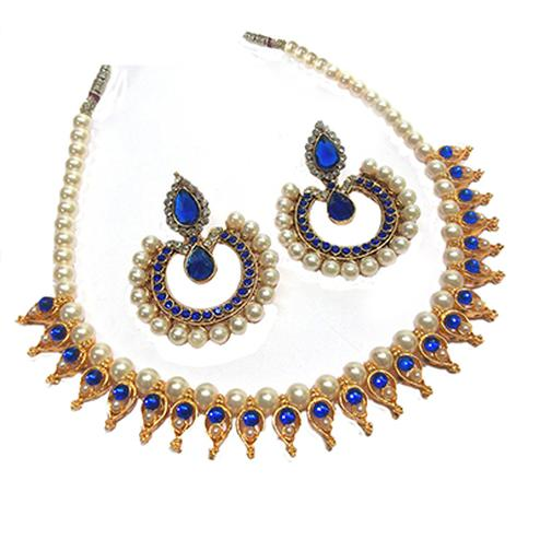 Dark Blue Polki Necklace Set