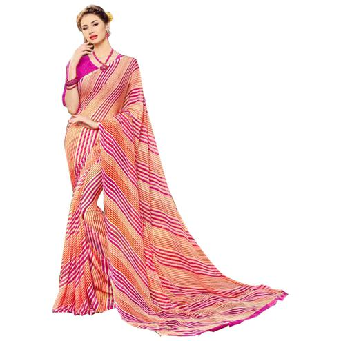 Trendy Pink-Peach Colored Casual Printed Chiffon Saree