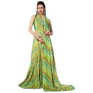 Irresistible Green Colored Casual Printed Chiffon Saree