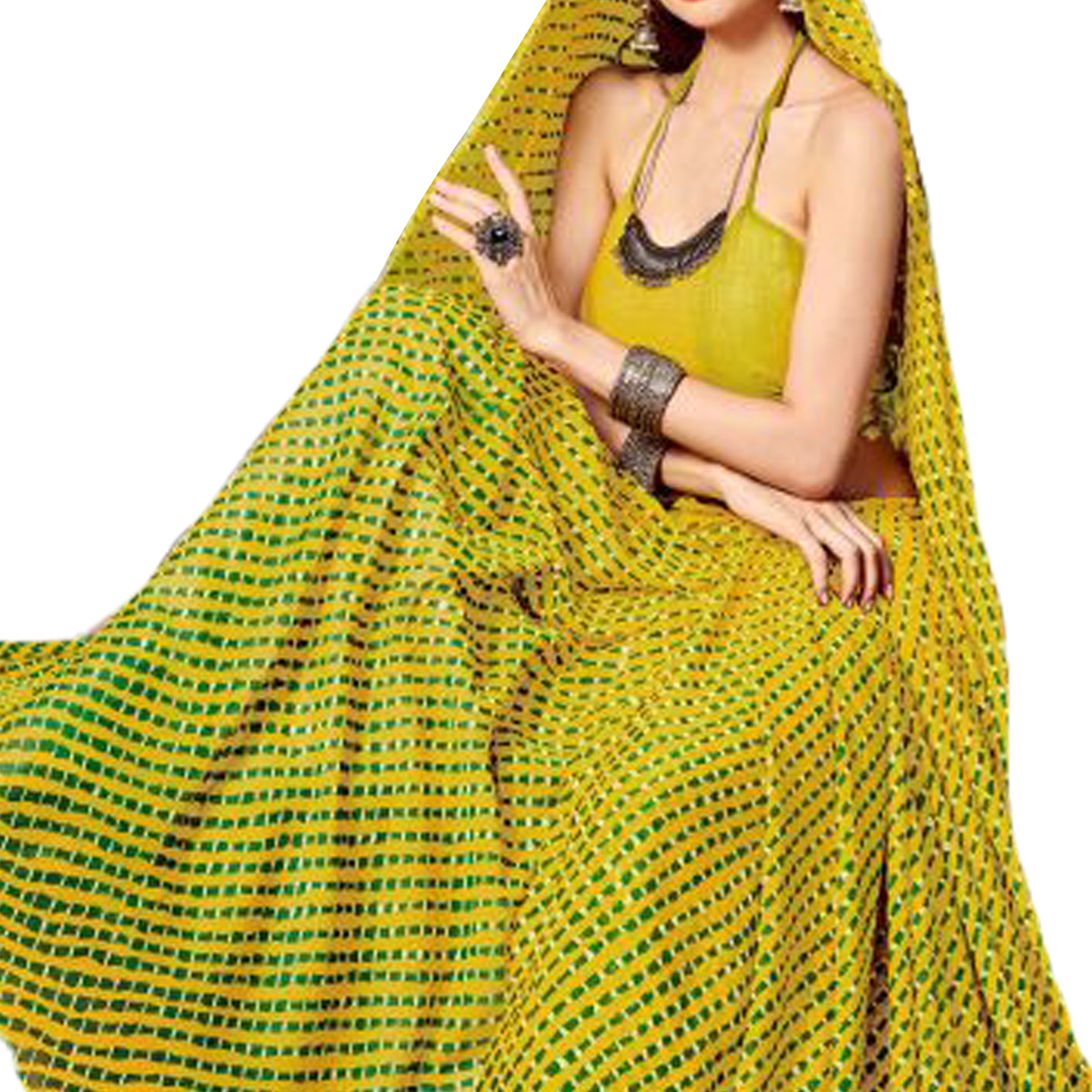 Stunning Mehendi Green Colored Casual Printed Chiffon Saree