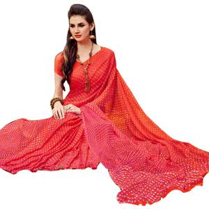 Glowing Red-Pink Colored Casual Printed Chiffon Saree