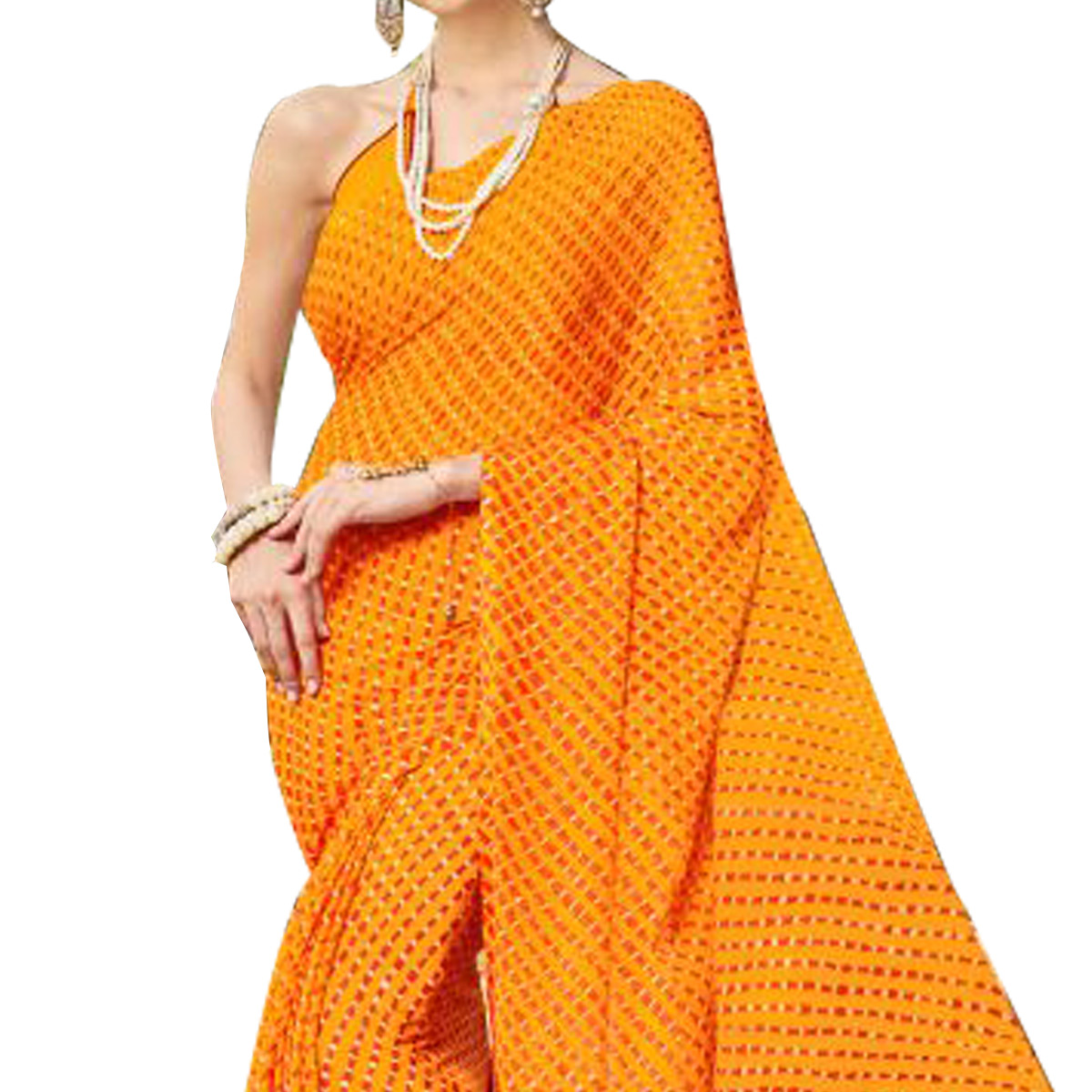 Traditional Yellow Colored Casual Printed Chiffon Saree