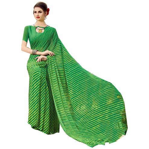 Groovy Green Colored Casual Printed Chiffon Saree
