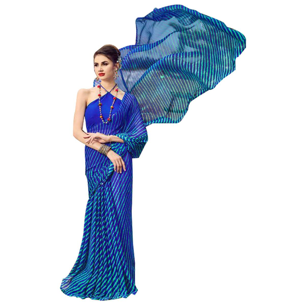Demanding Blue Colored Casual Printed Chiffon Saree
