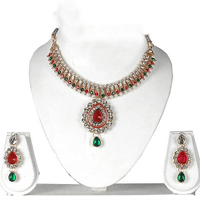Maroon - Green Pearl Necklace Set
