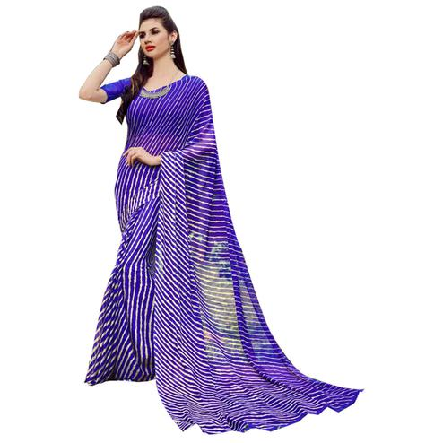 Attractive Blue Colored Casual Printed Chiffon Saree