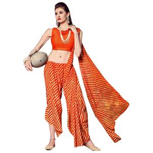 Eye-Catching Orange Colored Casual Printed Chiffon Saree