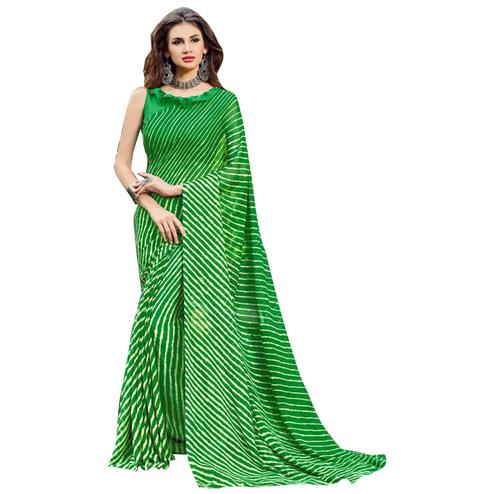 Mesmerising Green Colored Casual Printed Chiffon Saree