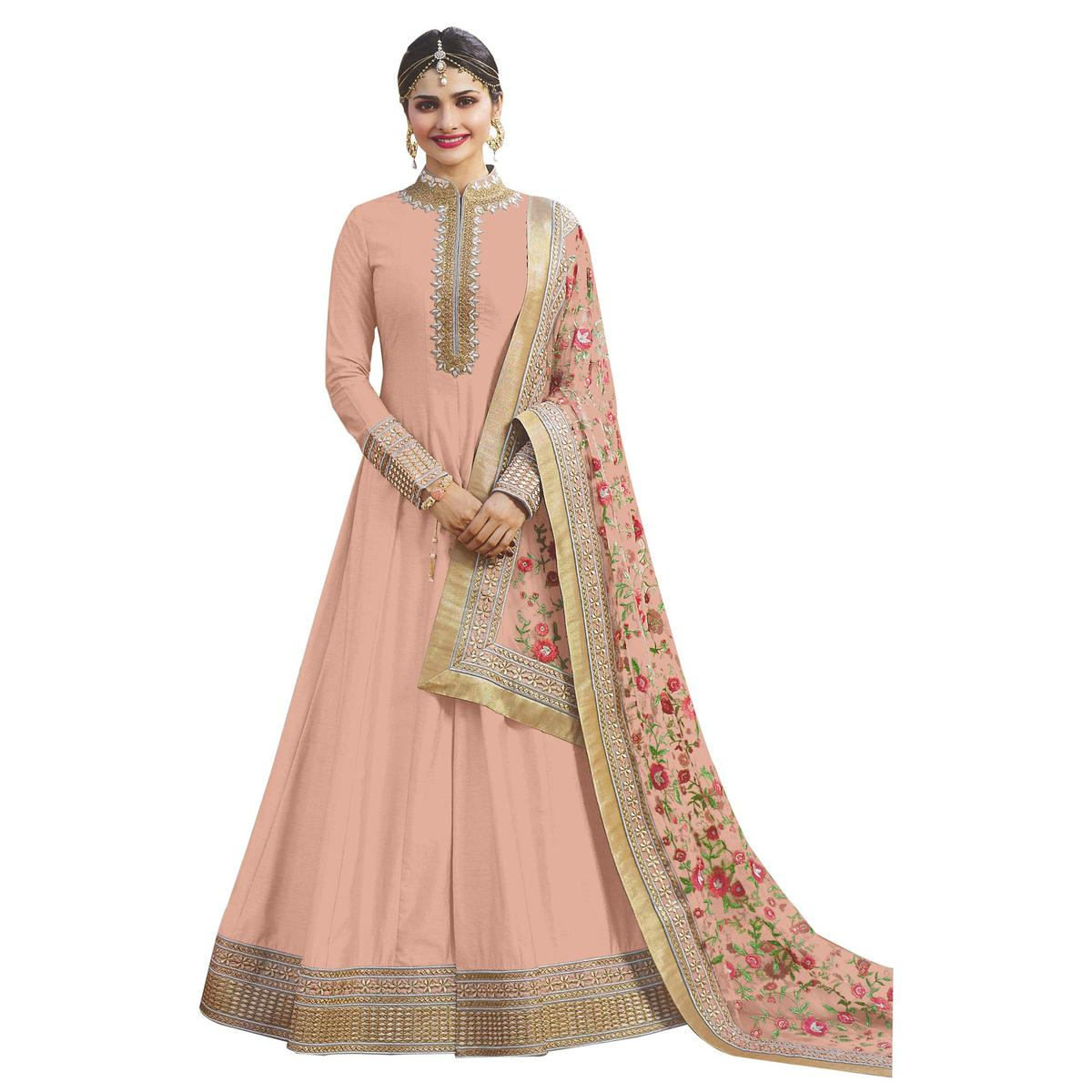 Attractive Peach Colored Party Wear Designer Embroidered Abaya Style Satin Anarkali Suit