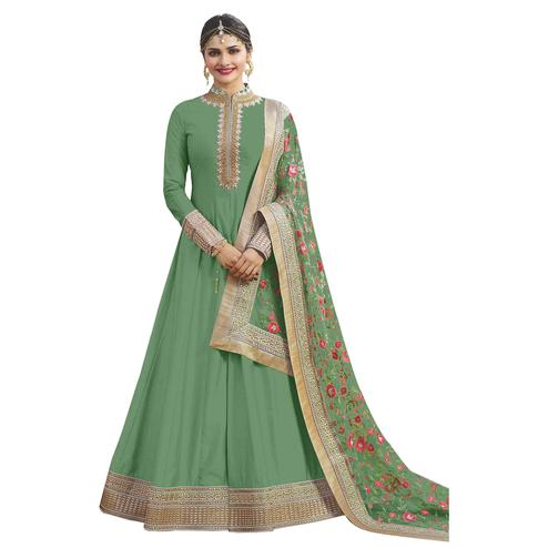 Gorgeous Green Colored Party Wear Designer Embroidered Abaya Style Satin Anarkali Suit
