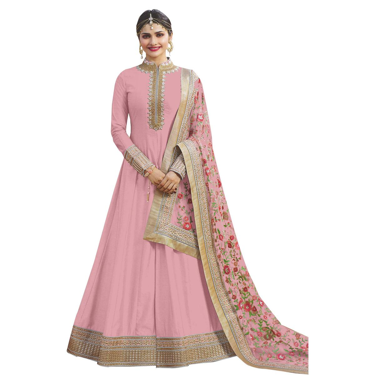 Precious Pink Colored Party Wear Designer Embroidered Abaya Style Satin Anarkali Suit