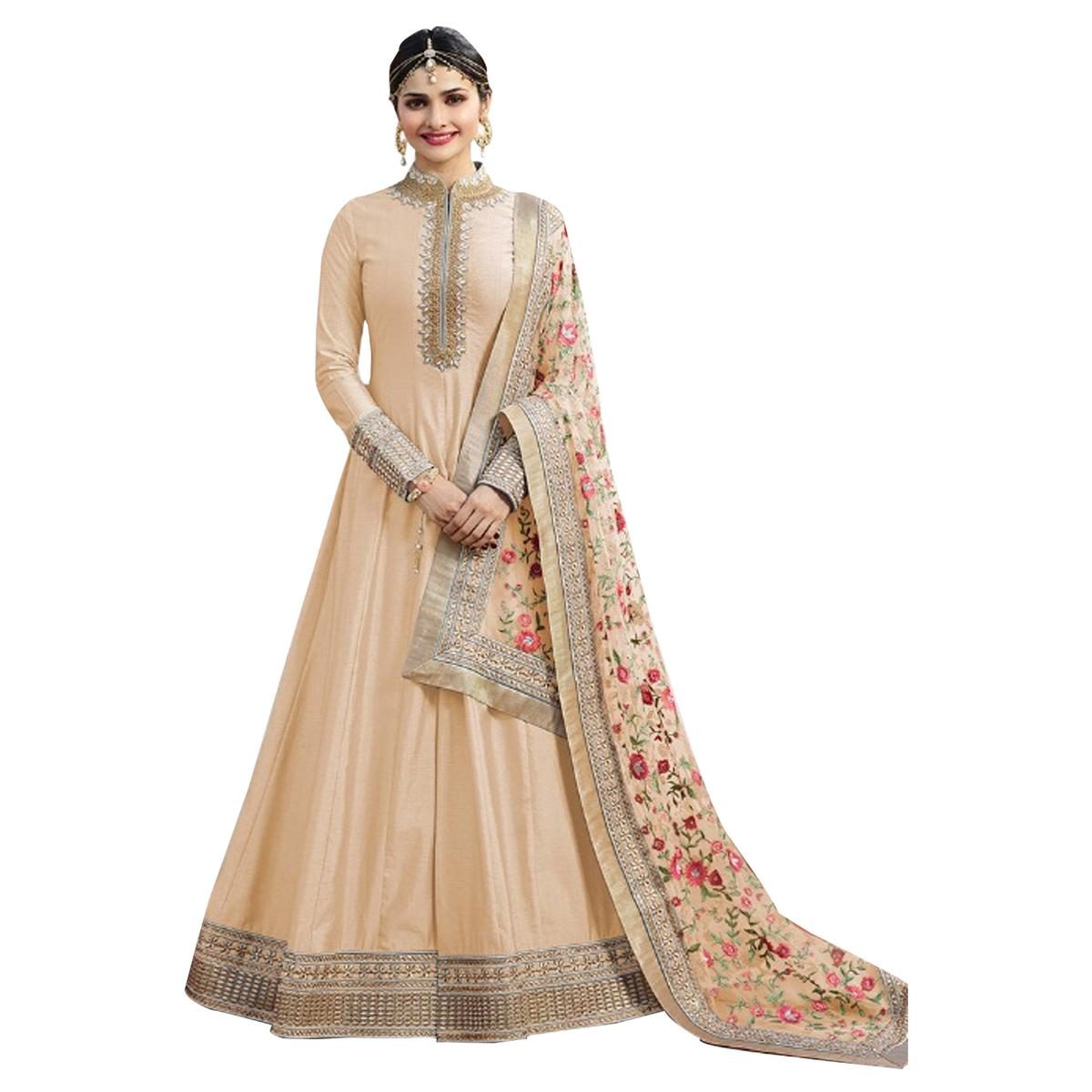 Classy Cream Colored Party Wear Designer Embroidered Abaya Style Satin Anarkali Suit