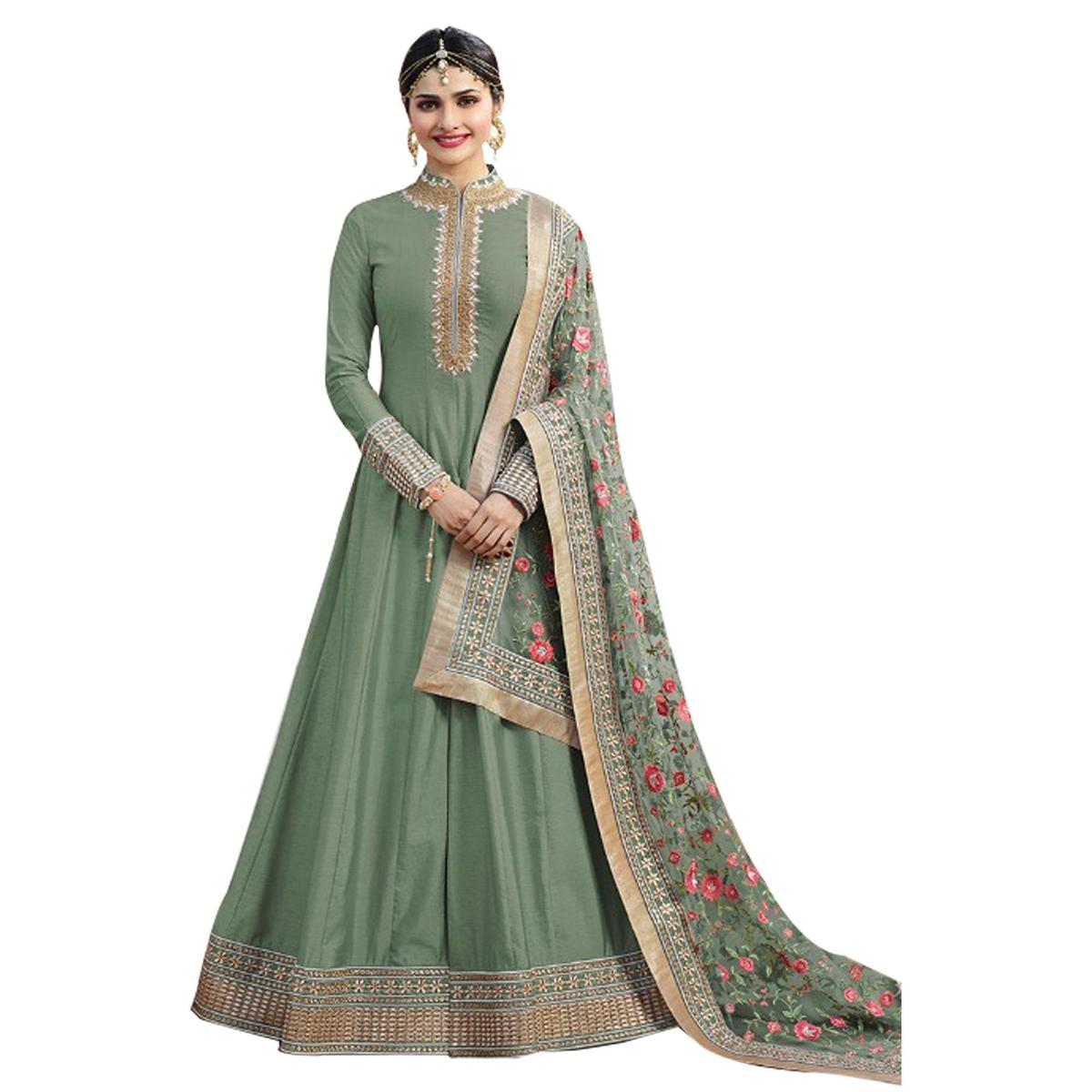 Ravishing Green Colored Party Wear Designer Embroidered Abaya Style Satin Anarkali Suit