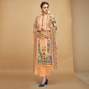 Attractive Peach Colored Casual Printed Cotton Dress Material