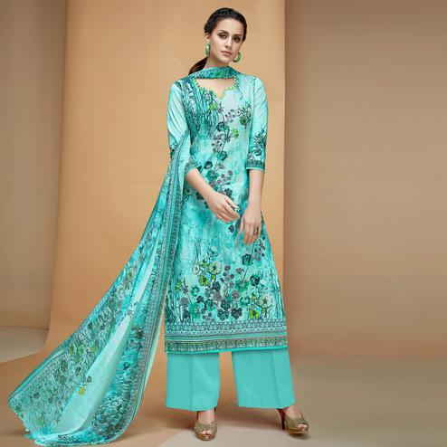Glowing Aqua Blue Colored Casual Printed Cotton Dress Material
