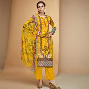 Trendy Yellow Colored Casual Printed Cotton Dress Material