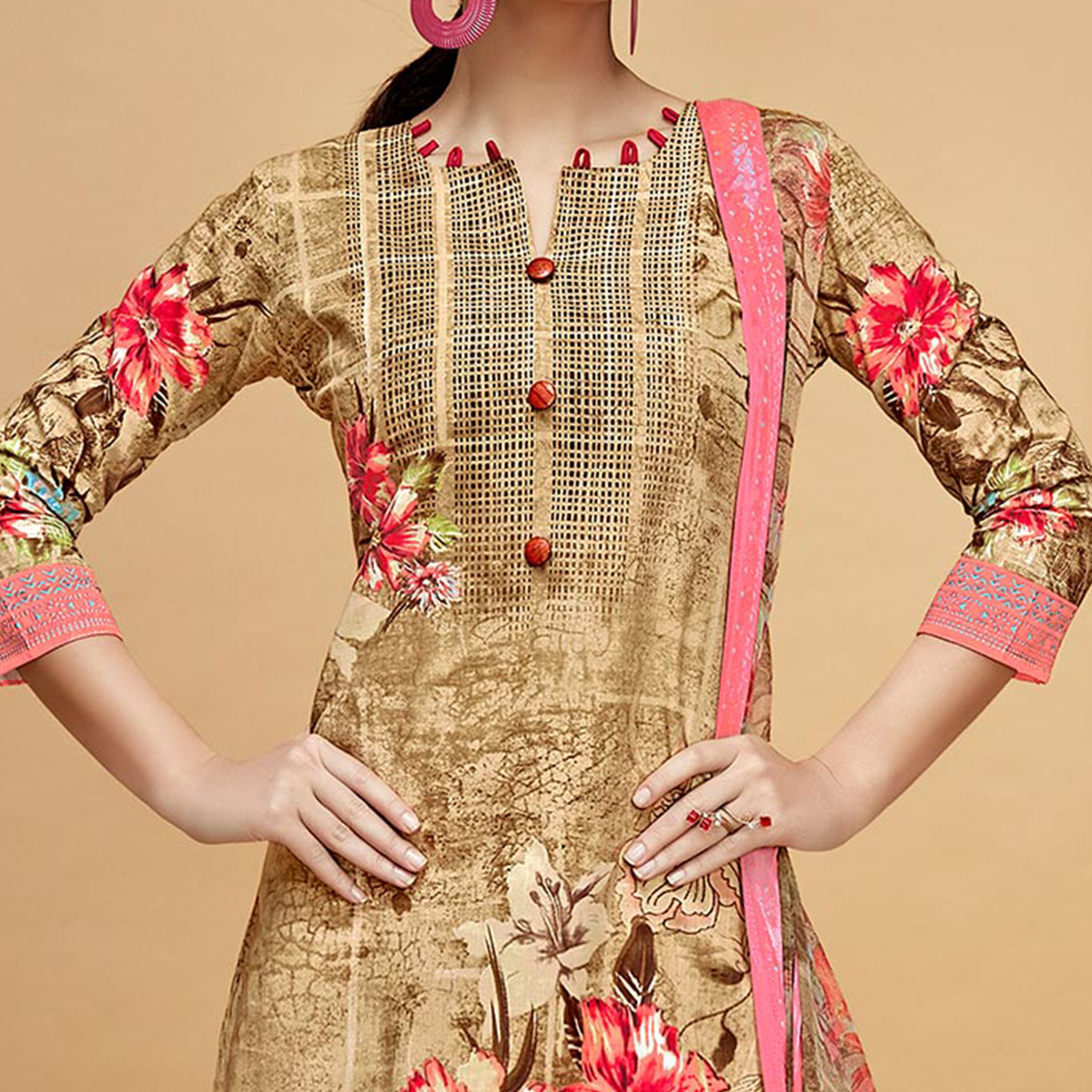 Beautiful Beige Colored Casual Printed Cotton Dress Material