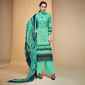Gleaming Turquoise Green Colored Casual Printed Cotton Dress Material