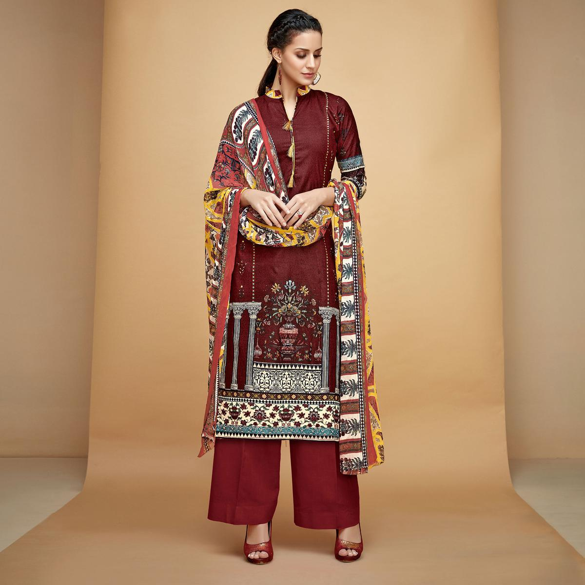 Preferable Maroon Colored Casual Printed Cotton Dress Material