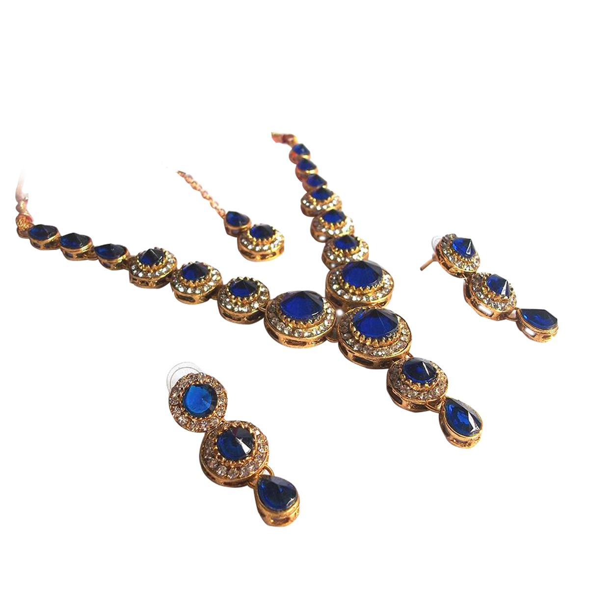 Dark Blue Stone Round Necklace Set