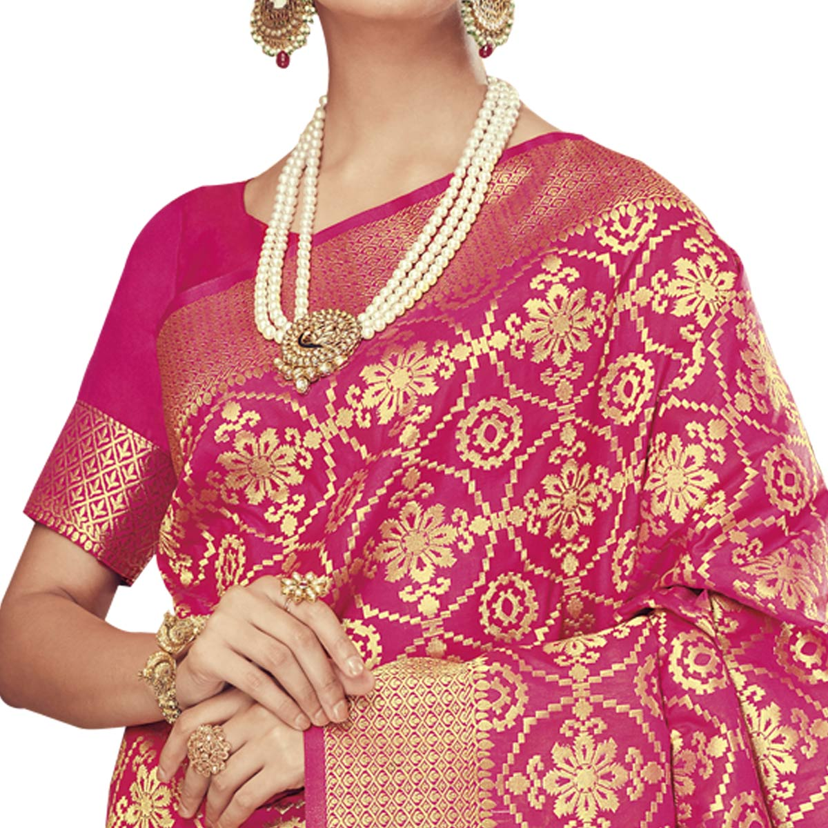 Beautiful Pink Colored Festive Wear Woven Silk Saree