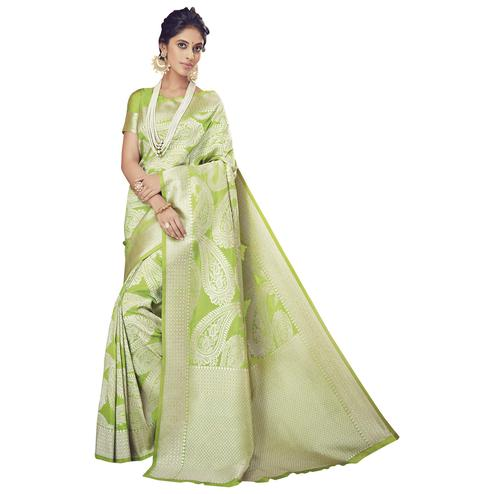 Elegant Lemon Green Colored Festive Wear Woven Silk Saree