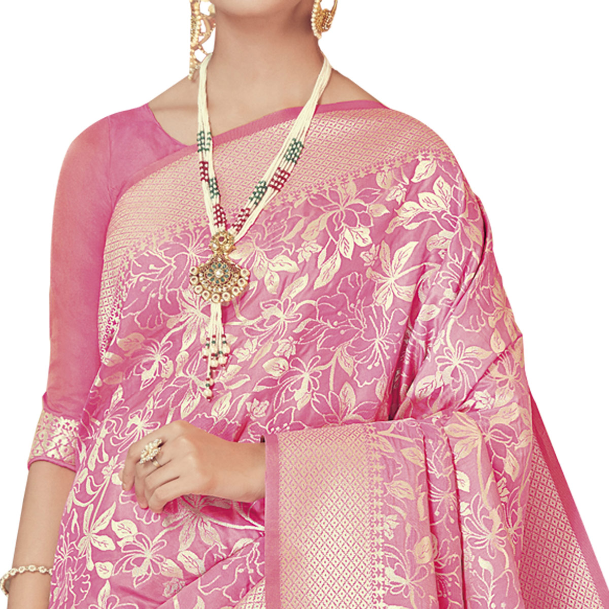 Pretty Pink Colored Festive Wear Woven Silk Saree