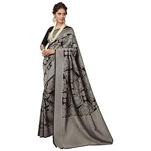 Bold Black Colored Festive Wear Woven Silk Saree
