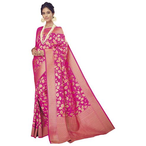 Stylish Rani Pink Colored Festive Wear Woven Silk Saree
