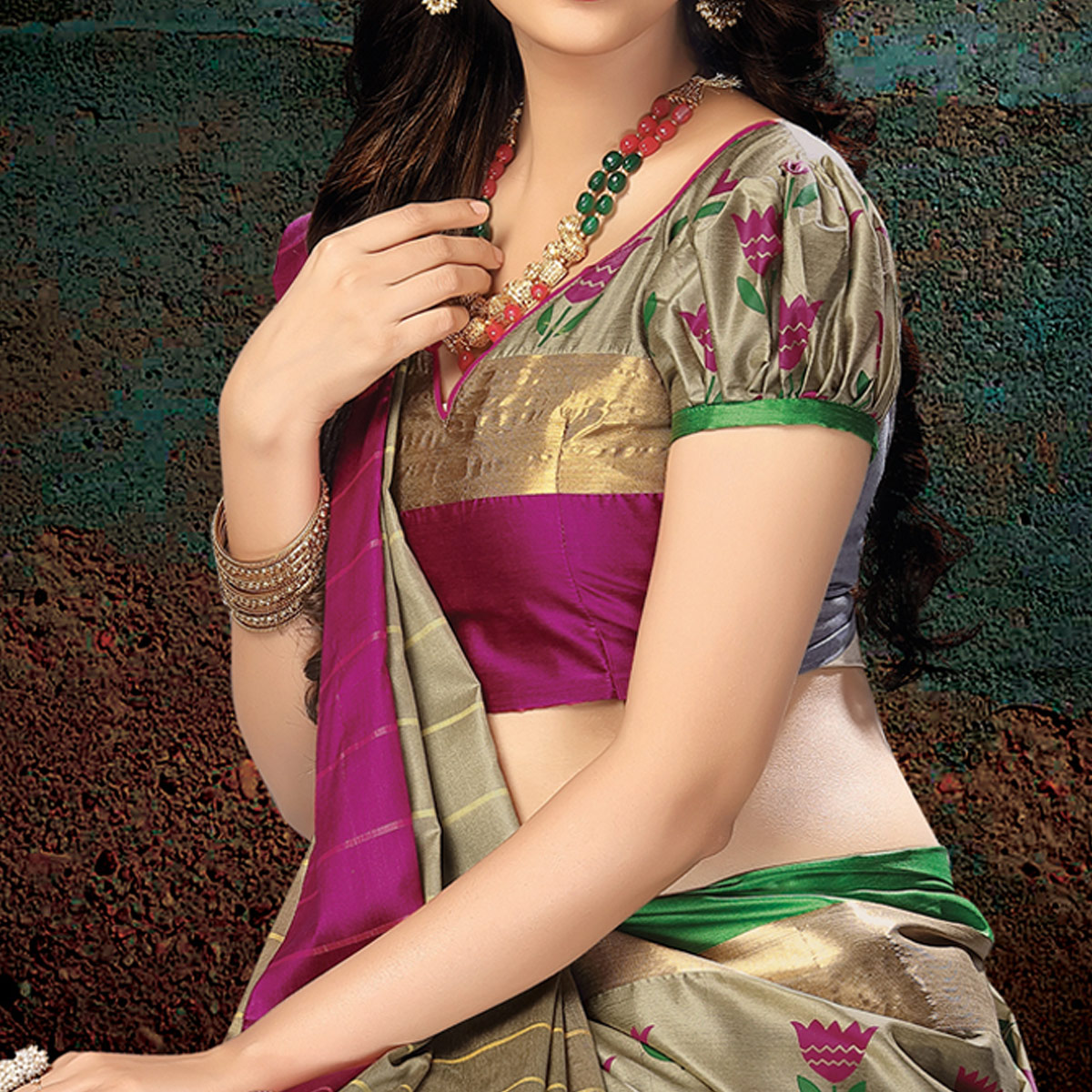 Elegant Beige-Pink Colored Festive Wear Handloom Silk Saree