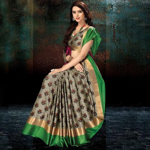 Unique Gray-Green Colored Festive Wear Handloom Silk Saree