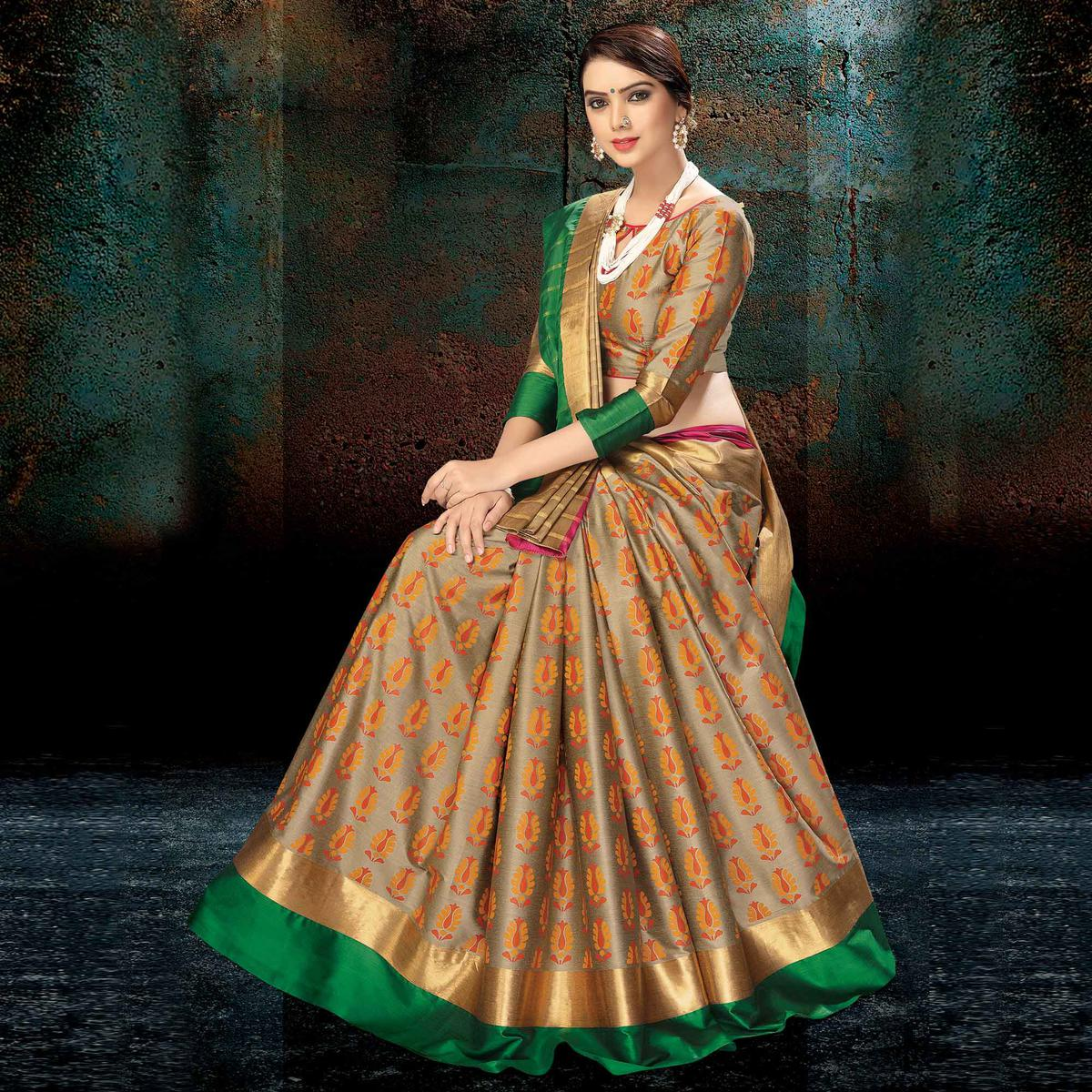 Mesmeric Beige-Green Colored Festive Wear Handloom Silk Saree