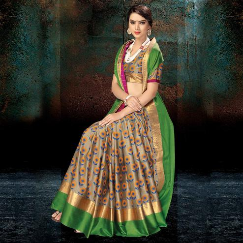 Opulent Beige-Green Colored Festive Wear Handloom Silk Saree