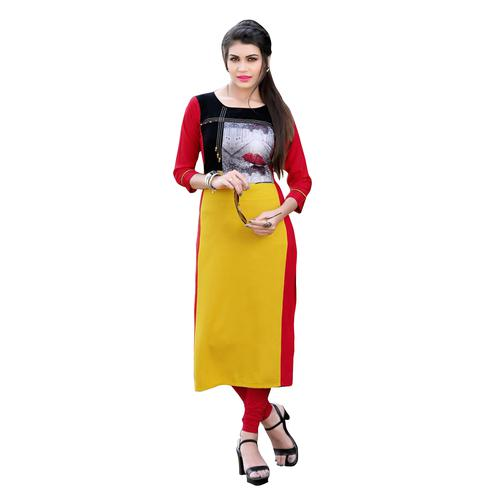 Stylish Yellow-Red  Colored Casual Digital Printed Rayon Kurti