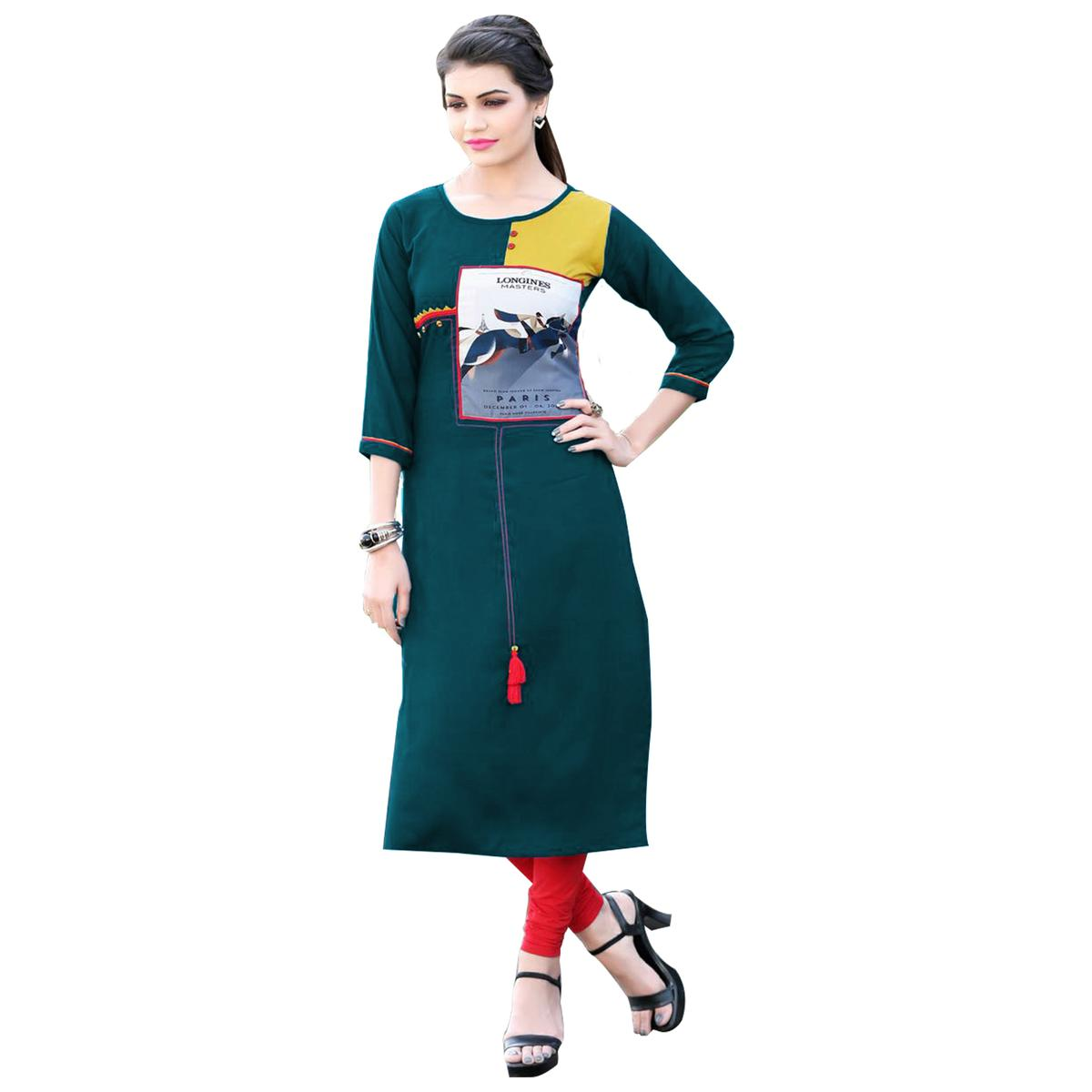Elegant Blue Colored Casual Digital Printed Rayon Kurti