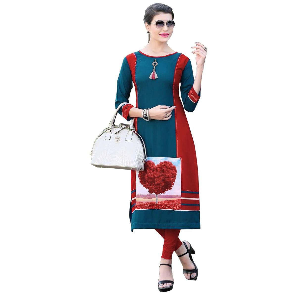 Blissful Blue-Red Colored Casual Digital Printed Rayon Kurti