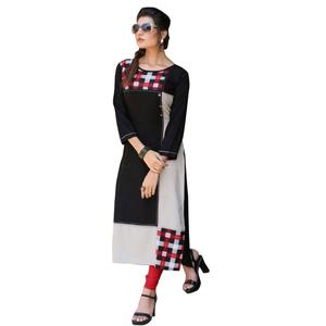 Classic Black-White  Colored Casual Digital Printed Rayon Kurti