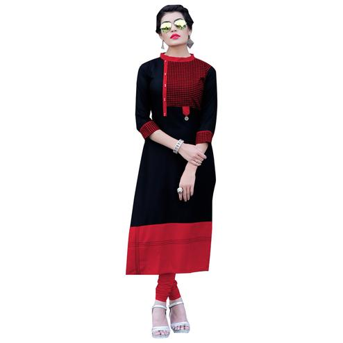 Graceful Black-Red  Colored Casual Digital Printed Rayon Kurti