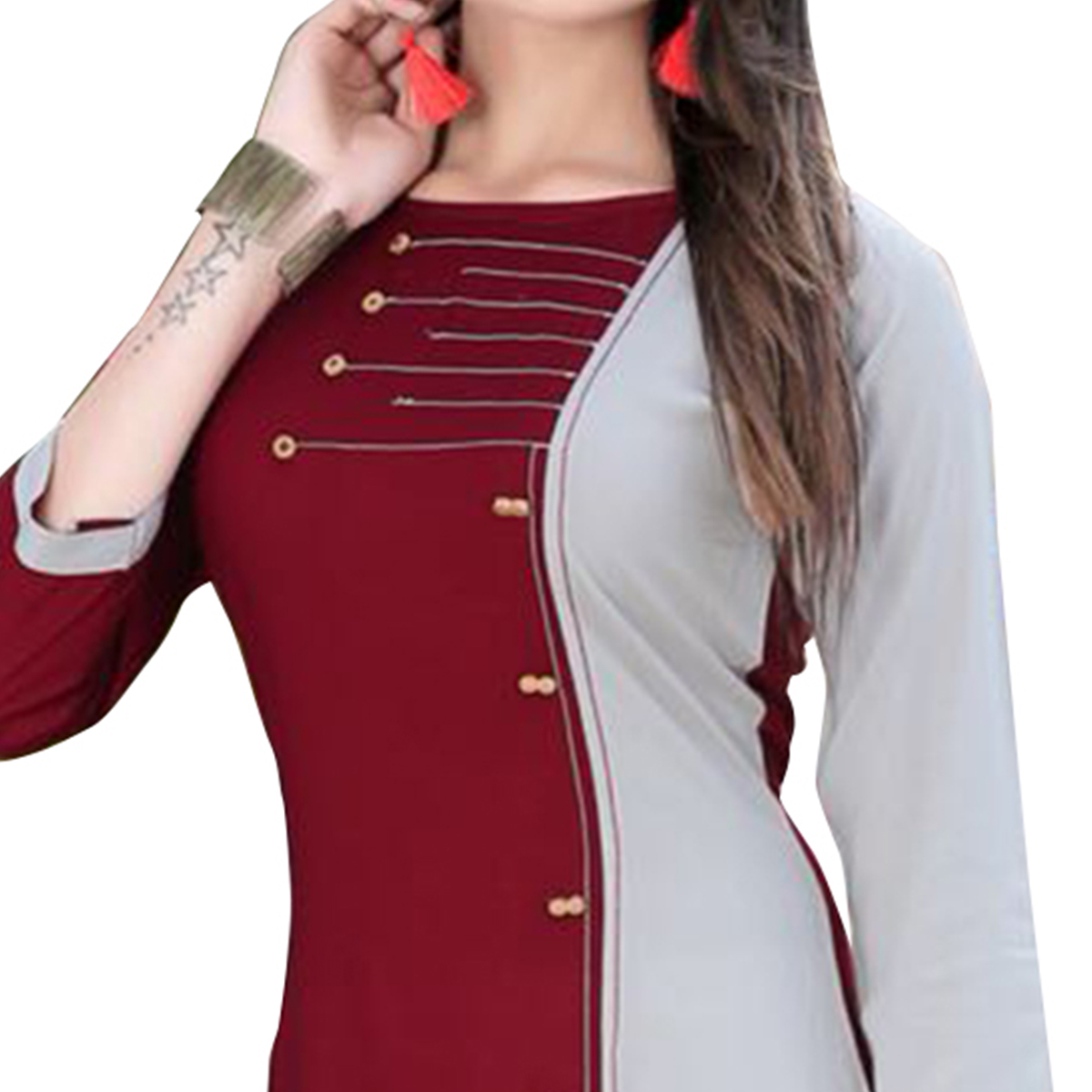 Adorning Maroon-Grey Colored Casual Digital Printed Rayon Kurti
