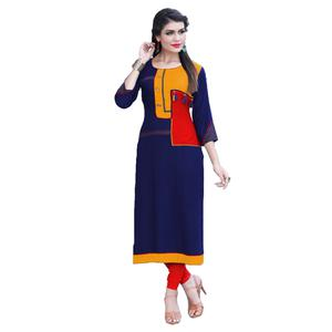 Charming Blue Colored Casual Digital Printed Rayon Kurti