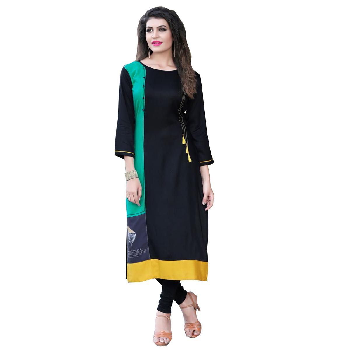 Magical Black Colored Casual Digital Printed Rayon Kurti