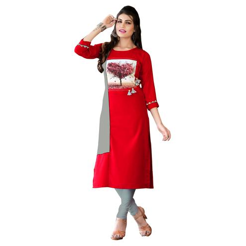 Ravishing Red Colored Casual Digital Printed Rayon Kurti