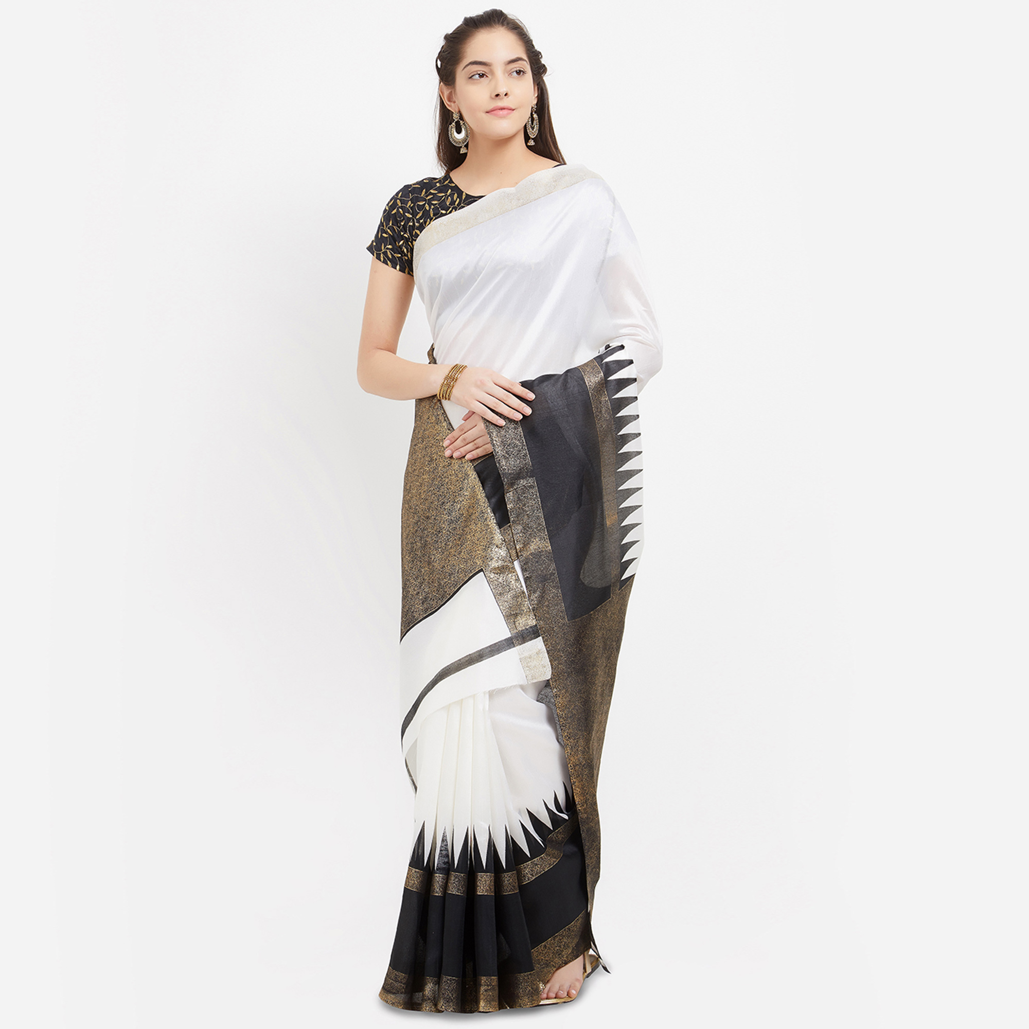 Off White Banglori Silk Gold Foil Printed Saree with Embroidered Blouse
