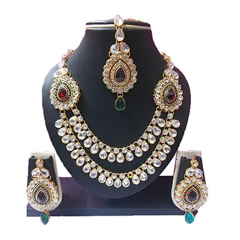 Maroon - Green Two Brooch Necklace Set